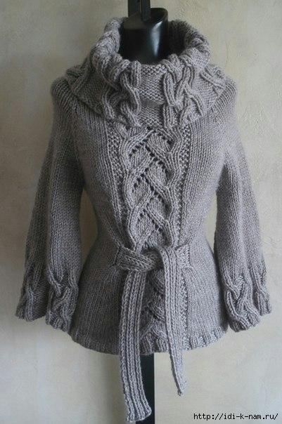 как связать элегантный свитер с косами и широким воротником. схема вязания свитера с широким воротником и косами, Хьюго Пьюго рукоделие,