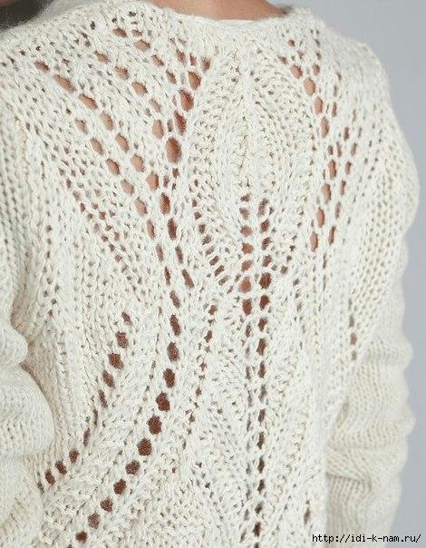 ажурный свитер спицами как связать, схема вязания ажурного свитера спицами, мастер-класс по вязанию ажурного свитера, Хьюго Пьюго рукоделие, http://idi-k-nam.ru/