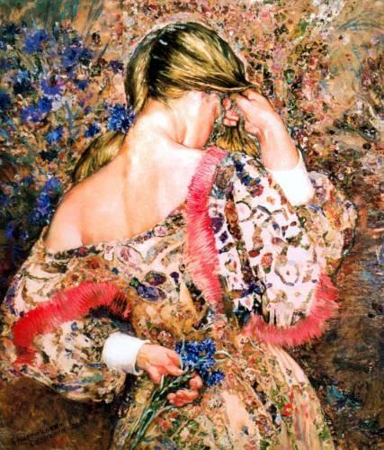 Девушка с васельками (427x500, 291Kb)