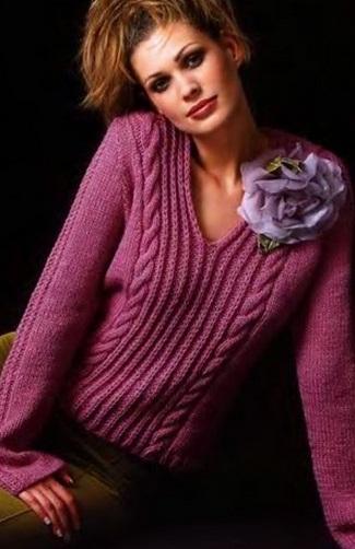 пуловер спицами (схемы).