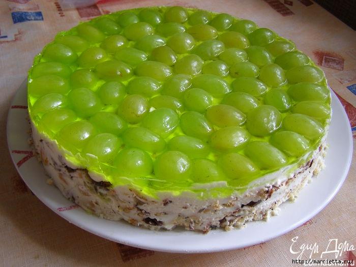 Рецепт торта без выпечки - ВИНОГРАДИНКА (700x525, 199Kb)