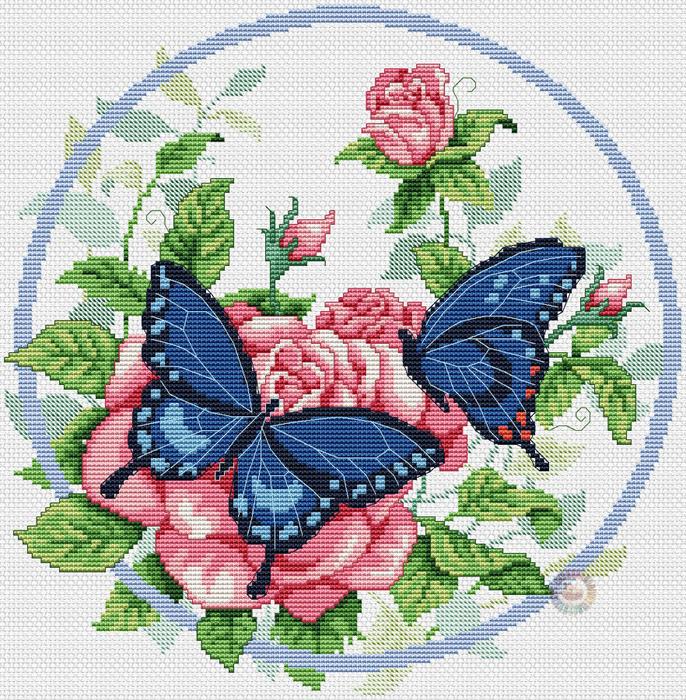 Butterflies'n Roses (686x700, 737Kb)