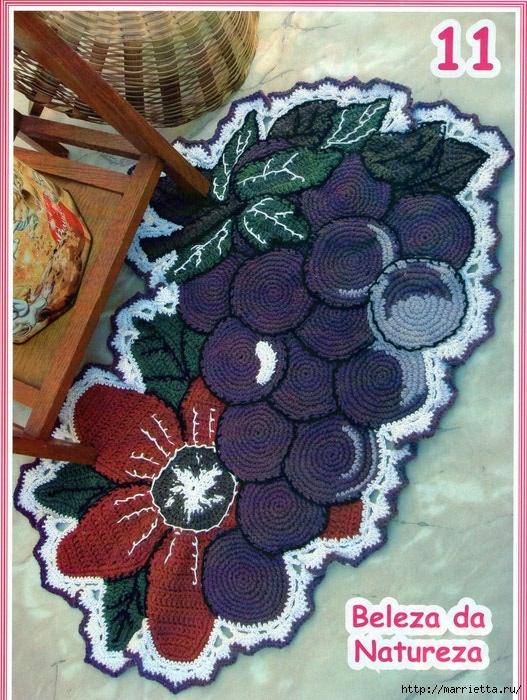 Яркий коврик крючком. Цветок и Гроздь винограда (1) (527x700, 312Kb)