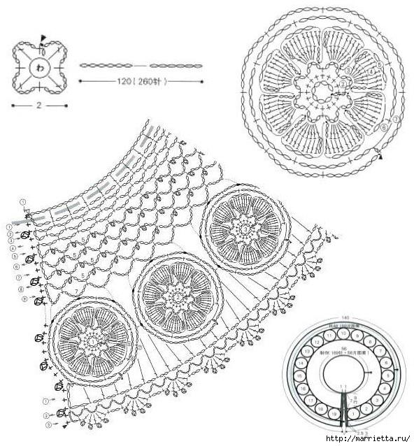 Крючком. Кружевной воротник с объемными цветами (3) (592x638, 267Kb)