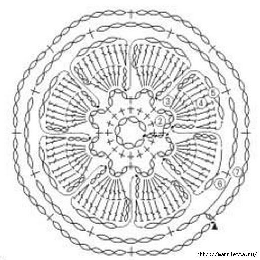 Крючком. Кружевной воротник с объемными цветами (7) (514x515, 141Kb)