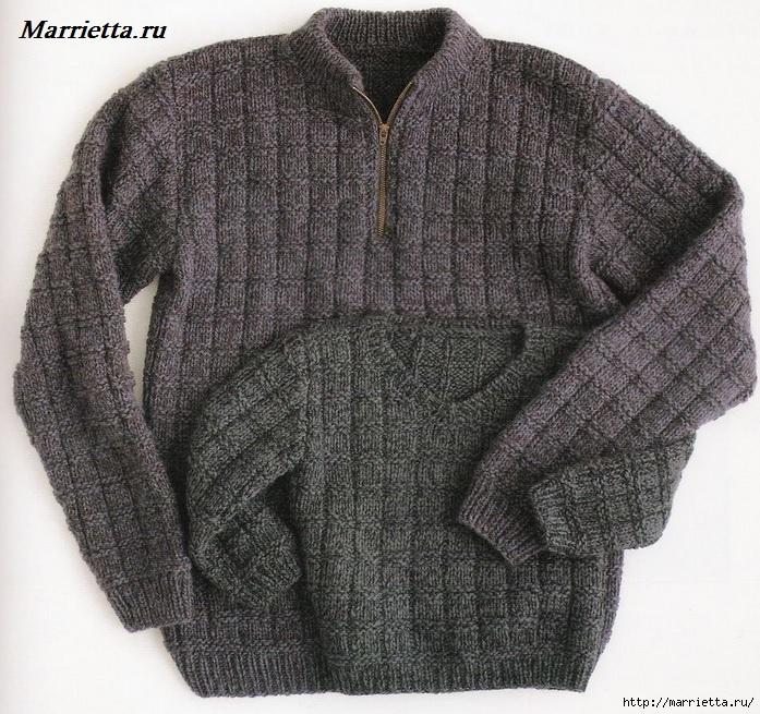 Вязание для мужчин. Теплый зимний свитер спицами (1) (697x655, 395Kb)