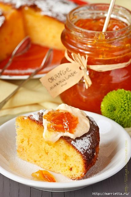 Рецепт к чаю. Золотой апельсиново-творожный пирог (1) (427x640, 212Kb)