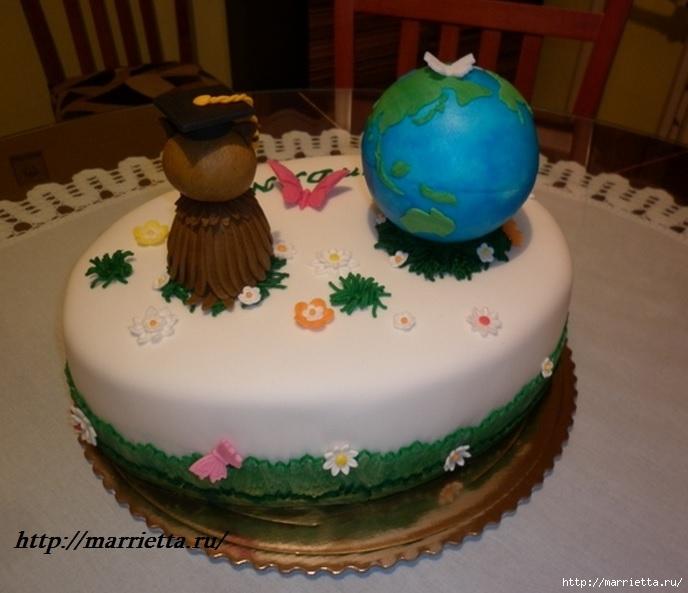 УЧЕНАЯ СОВА из марципана для детского торта. Фото мастер-класс (1) (688x593, 180Kb)