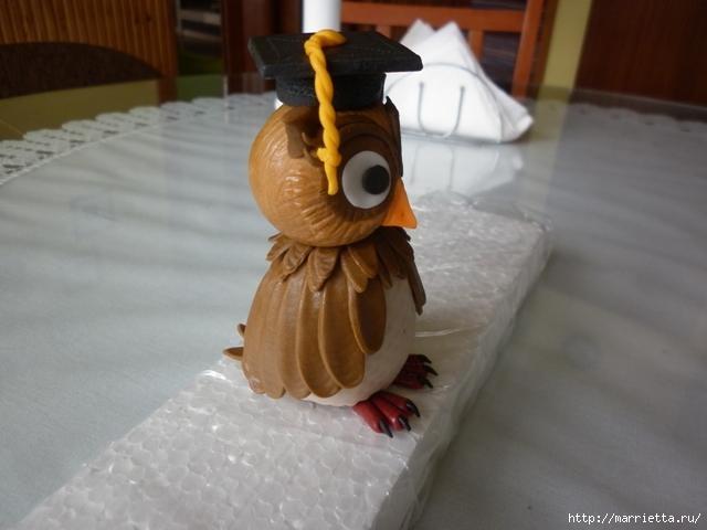 УЧЕНАЯ СОВА из марципана для детского торта. Фото мастер-класс (24) (640x480, 97Kb)
