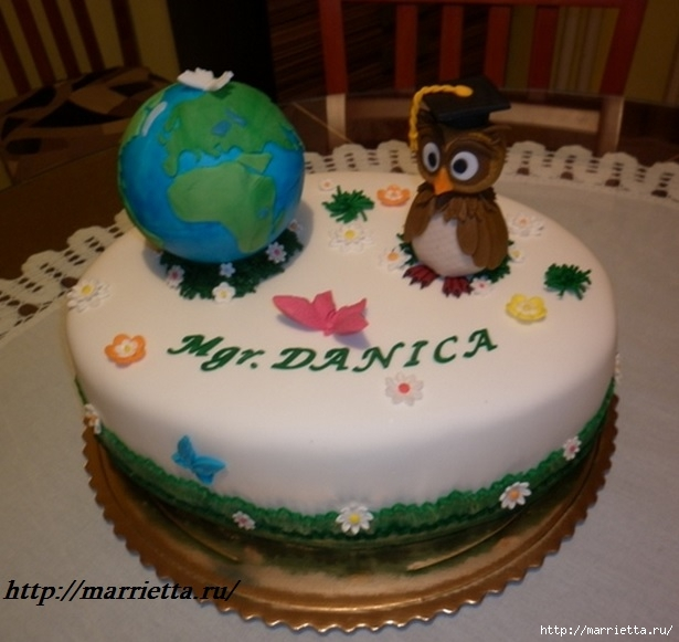 УЧЕНАЯ СОВА из марципана для детского торта. Фото мастер-класс (32) (615x581, 162Kb)