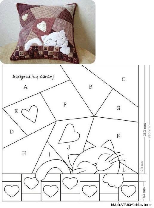 Лоскутное подушки выкройки схемы