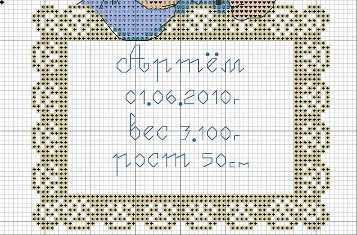 Схемы вышивки крестиком метрика для мальчика