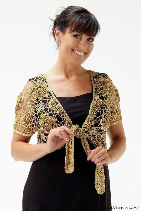 Золотой жакет-накидка для вечернего платья. Вязание крючком (4) (466x700, 198Kb)