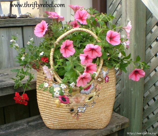 Декоративное кашпо для цветов из сумки (1) (640x554, 348Kb)