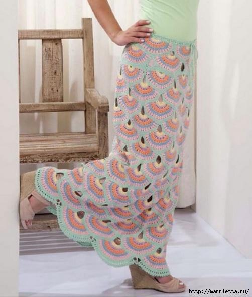 Длинная юбка крючком узором ракушка (7) (502x592, 149Kb)