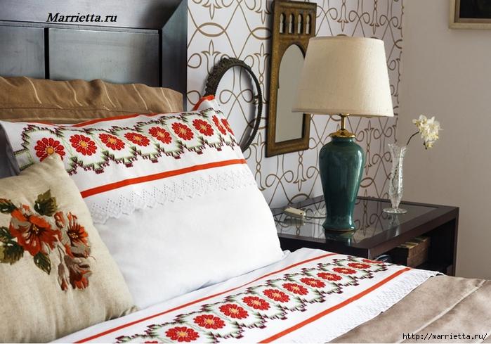 Красивая цветочная вышивка для постельного белья. Схема (7) (700x489, 287Kb)