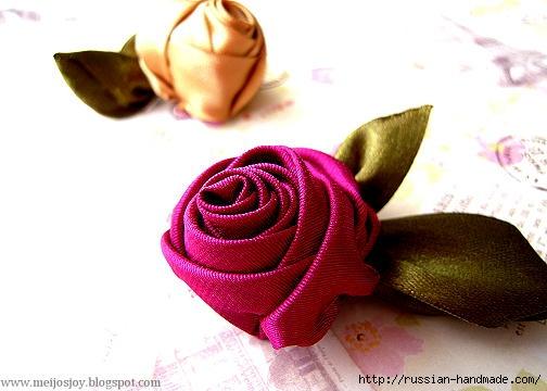 Роза из ленты для создания украшений. Мастер-класс (3) (504x360, 96Kb)