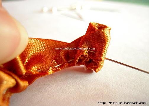 Роза из ленты для создания украшений. Мастер-класс (11) (504x360, 92Kb)