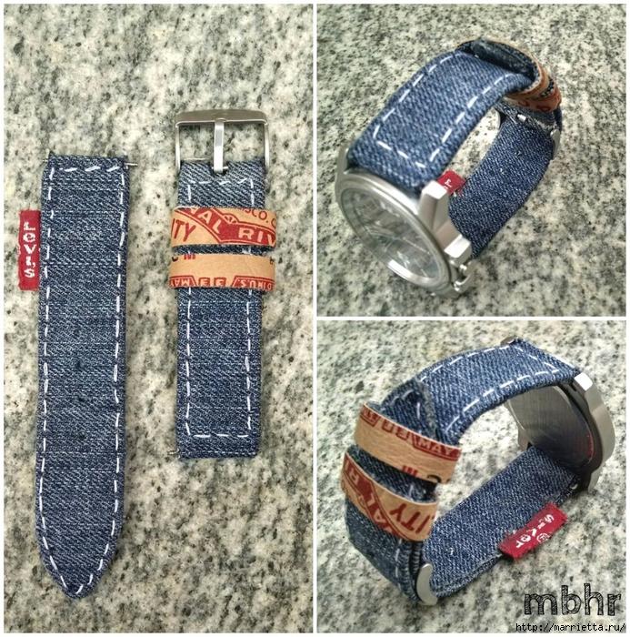 Ремешок для наручных часов из старых джинсов. Мастер-класс (32) (693x700, 512Kb)