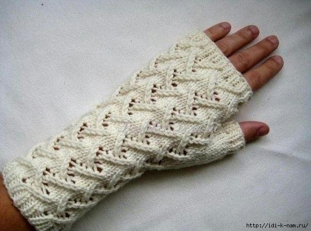 как связать митенки на спицах, митенки спицами, как связать перчатки без пальцев, схема вязания митенок на спицах,  Хьюго Пьюго рукоделие митенки на спицах,