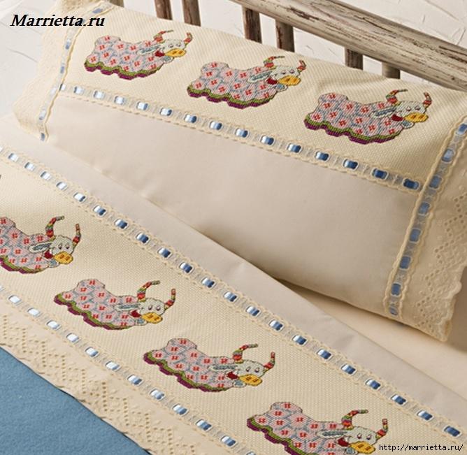 Вышивка на постельном белье.