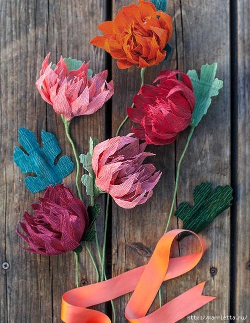 Осенние цветы из гофрированной бумаги. Шаблоны для распечатки (1) (501x647, 268Kb)