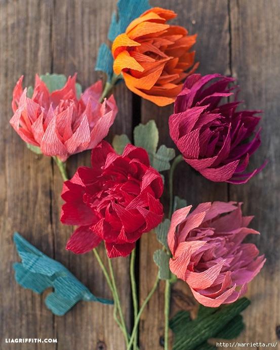 Осенние цветы из гофрированной бумаги. Шаблоны для распечатки (3) (553x690, 249Kb)