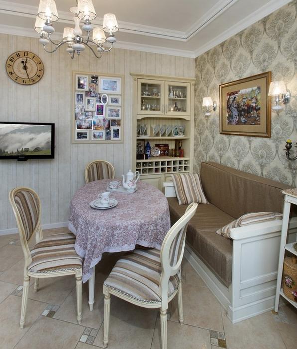 Кухня-столовая в стиле прованс и как сделать деревянный потолок своими руками (2) (596x700, 415Kb)