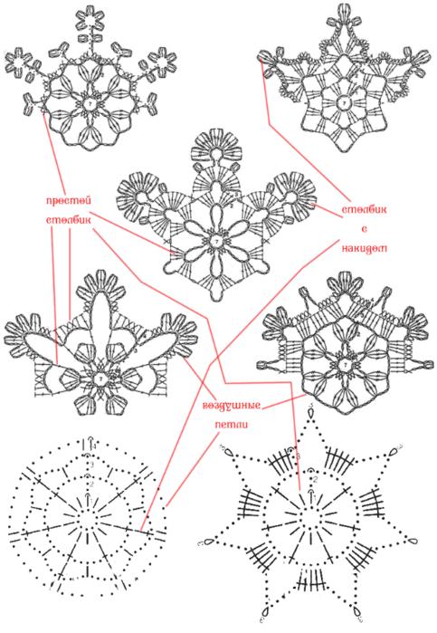 Схемы СНЕЖИНОК крючком (1) (483x700, 295Kb)