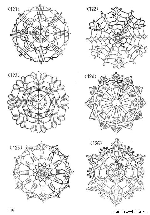 Схемы СНЕЖИНОК крючком (3) (488x700, 228Kb)