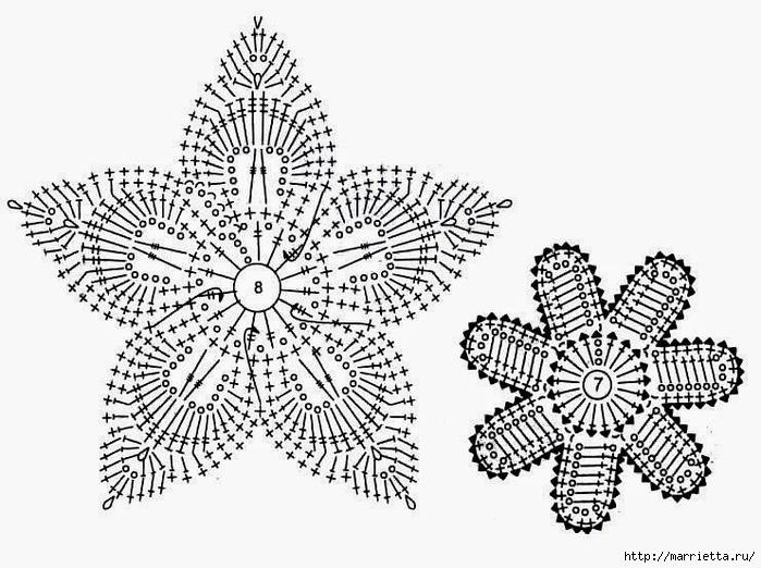 Схемы СНЕЖИНОК крючком (4) (700x522, 227Kb)