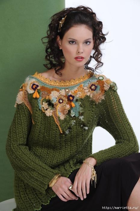 Фриформ. Пуловер ЦАРИЦА ЛЕСА от Синюковой Елены (3) (465x700, 251Kb)