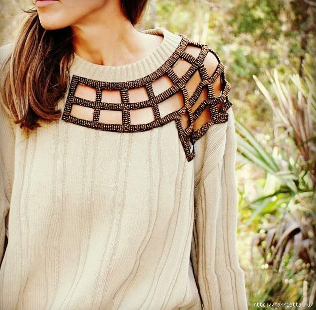 Стильная идея переделки пуловера (4) (636x624, 283Kb)