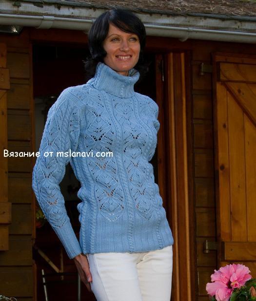 ажурный-пуловер-спицами (525x618, 241Kb)