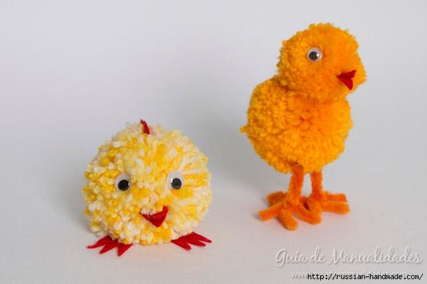 Желтые цыплятки из помпонов и проволоки (16) (620x413, 105Kb)