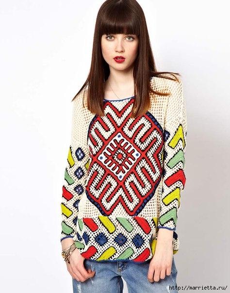 Пуловер крючком в этническом стиле (3) (474x604, 169Kb)