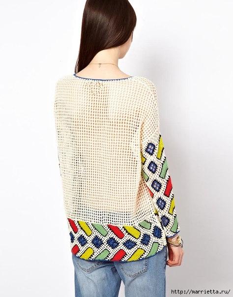 Пуловер крючком в этническом стиле (5) (474x604, 143Kb)