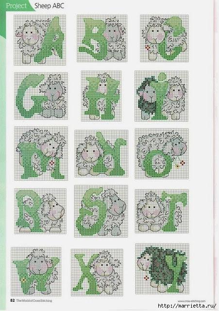 Вышивка крестом. Алфавит с овечками (2) (451x640, 262Kb)