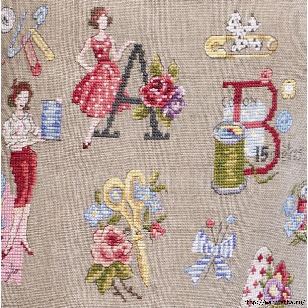 Льняной фартук для рукодельницы, с вышивкой на швейную тему (1) (600x600, 335Kb)