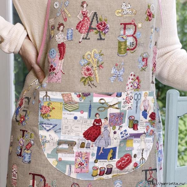 Льняной фартук для рукодельницы, с вышивкой на швейную тему (15) (600x600, 301Kb)