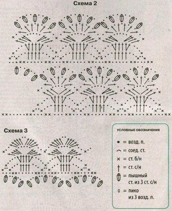 Схема узора лилии на осинке
