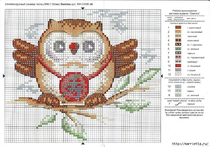 СОВУШКИ. Схемы вышивки крестом (4) (700x488, 358Kb)