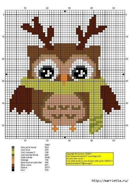 СОВУШКИ. Схемы вышивки крестом (6) (427x604, 191Kb)
