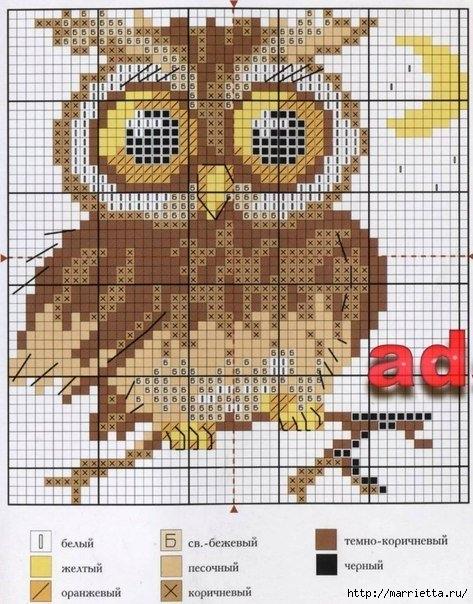 СОВУШКИ. Схемы вышивки крестом (8) (473x604, 238Kb)