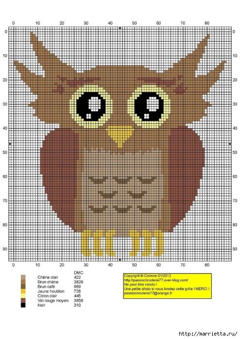 СОВУШКИ. Схемы вышивки крестом (12) (494x700, 279Kb)