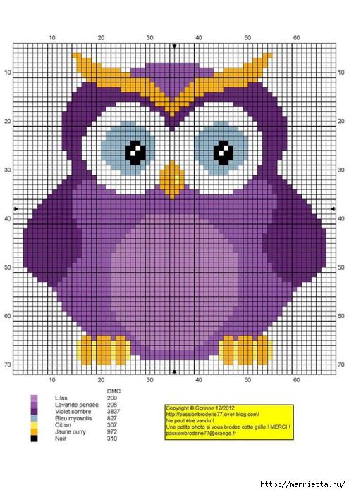 СОВУШКИ. Схемы вышивки крестом (14) (495x700, 266Kb)