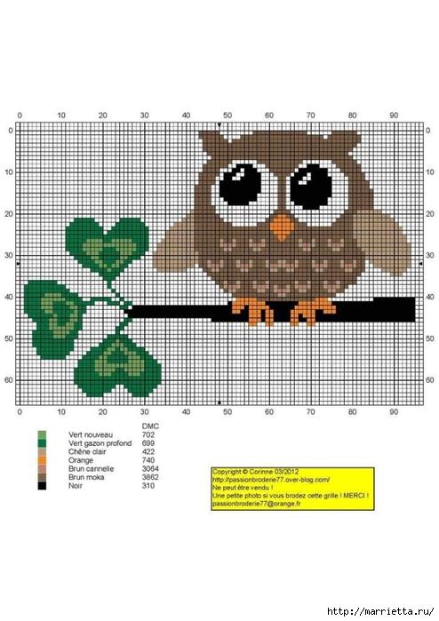 СОВУШКИ. Схемы вышивки крестом (18) (494x700, 191Kb)