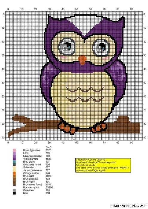 СОВУШКИ. Схемы вышивки крестом (20) (495x700, 267Kb)