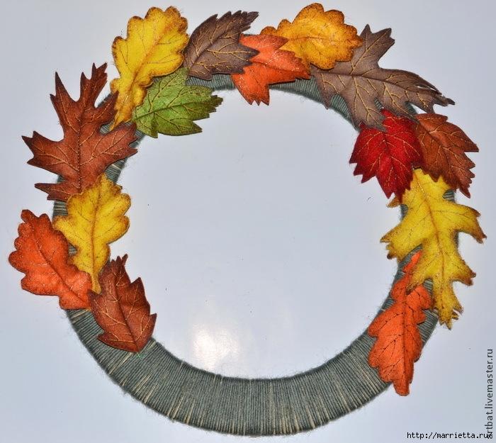 Осенний венок из фетровых листьев. Мастер-класс (12) (700x625, 280Kb)