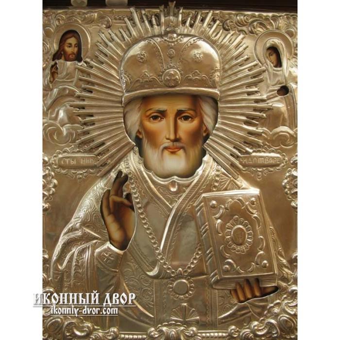 Писаная икона в серебряном окладе Святитель Николай купить в киеве в магазине иконный двор (700x700, 125Kb)